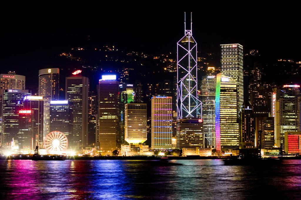 Hong Kong harbour, looking to Hong Kong Island at night