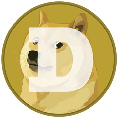 Dogecoin logo featuring a Shiba Inu dog from the Doge meme on a coin