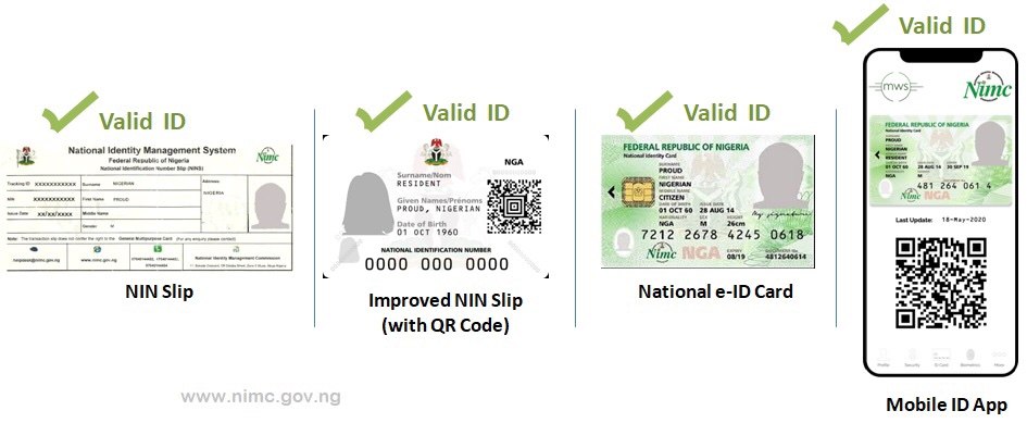 Original Nation ID card pictures, improved NIN card sample, National e-ID card pictures.