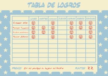 tabla de recompensas para niños para imprimir