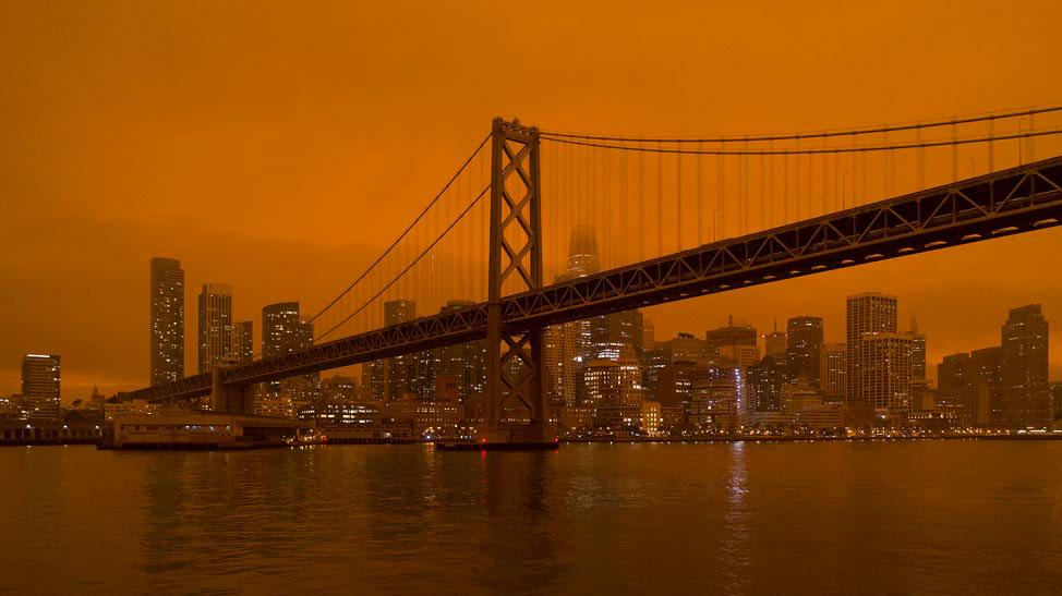 Orange sky from fires