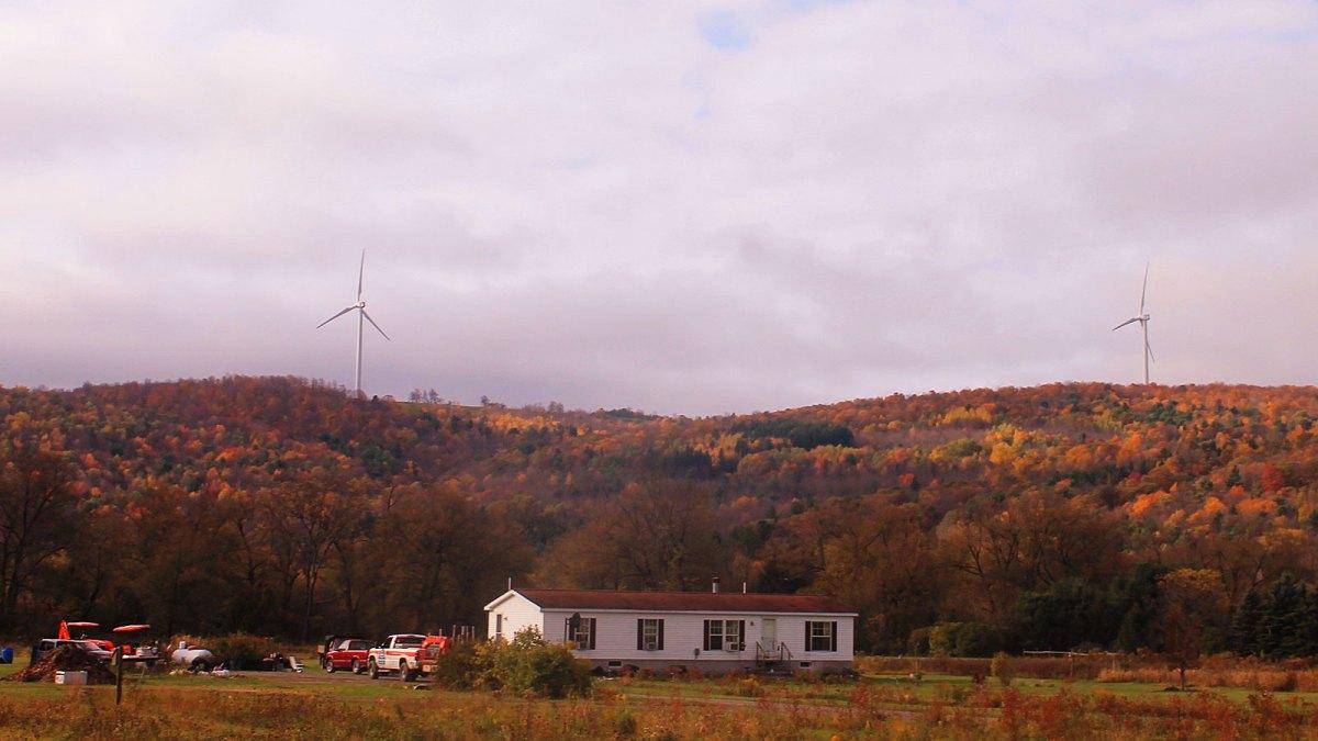 Farm with wind turbines