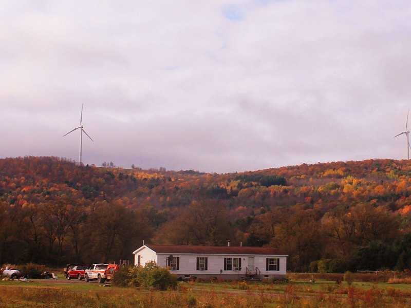 Farm with wind turbines