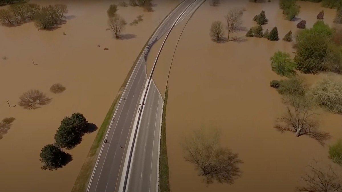 Flooding and damaged roadway