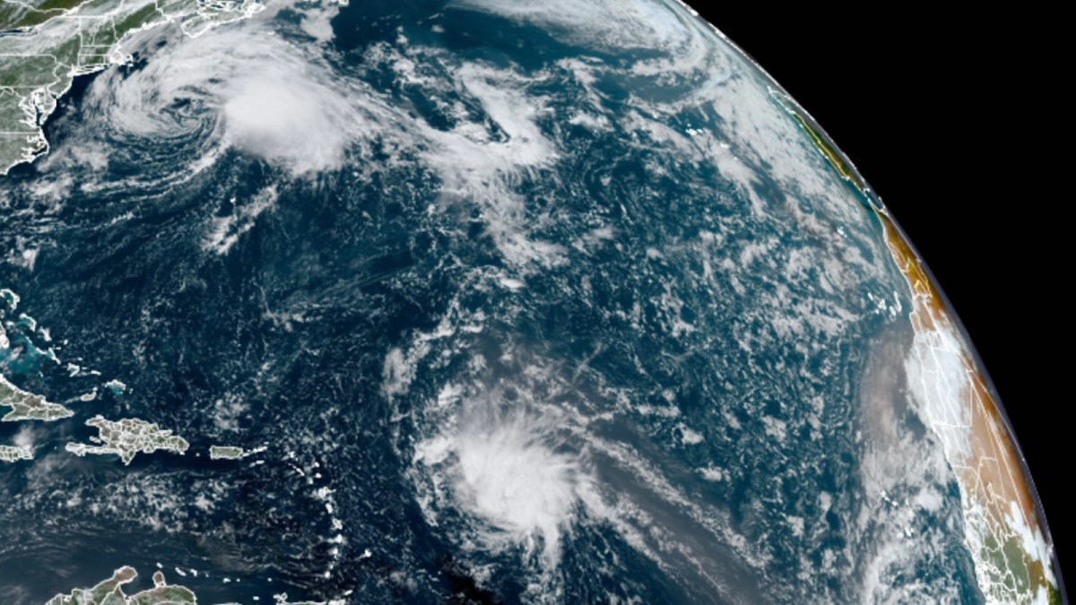 Satellite image of Odette and 95L on 9/18/21.