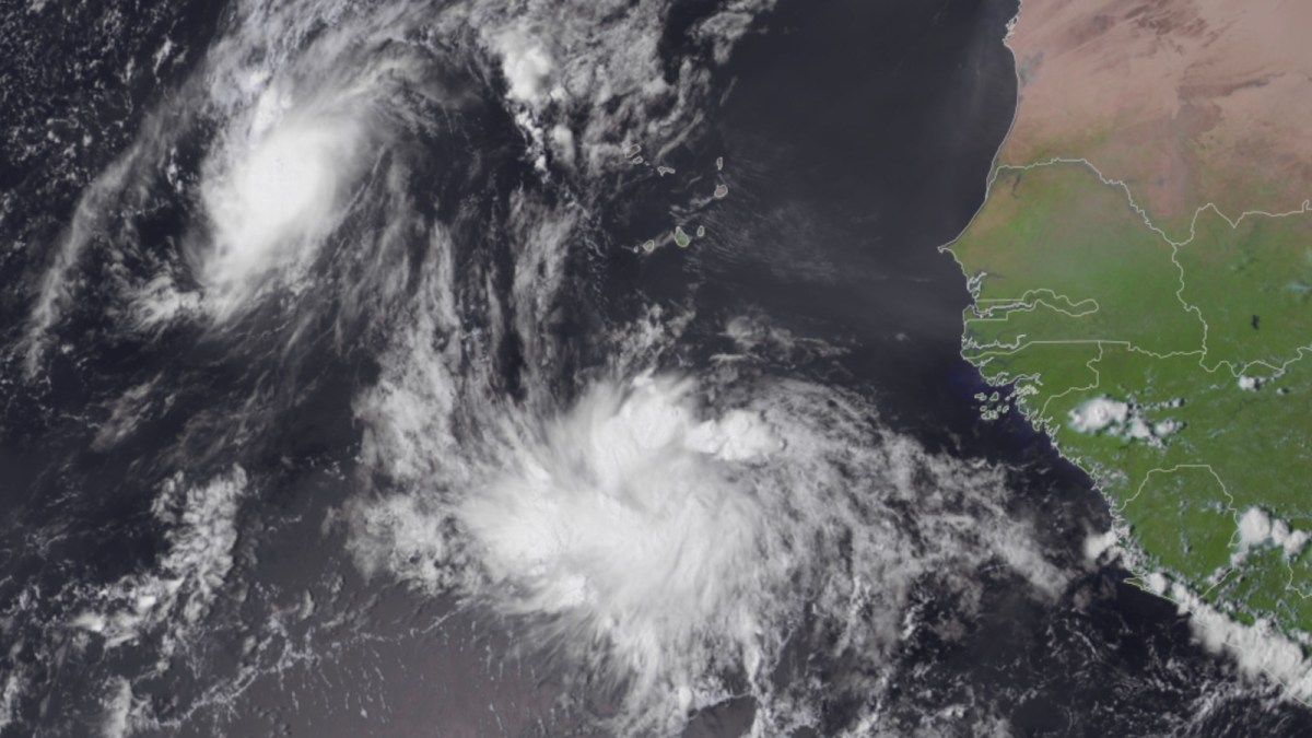 Satellite image of Rose and 98L on 9/20/21