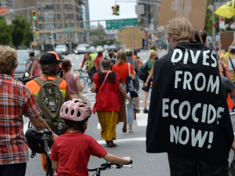Man wearing ecocide message cape