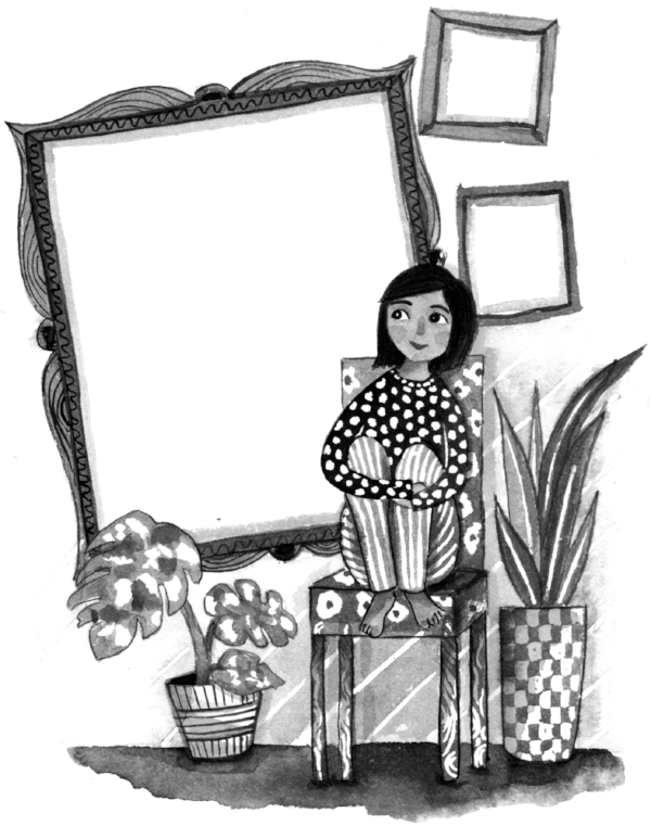 Black and white llustration of girl and empty art frames