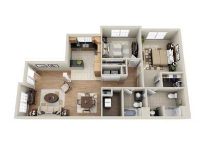2 Bedroom Single-Story End Unit