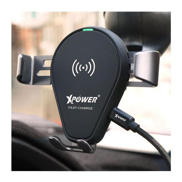 Xpower 2 in 1 Fast Charge Wireless Charging Car Mount Holder - Black-Yallagoom.com.qa