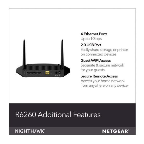Netgear Wifi Router R6260 Ac1600 Smart - Black-yallagoom.com.qa