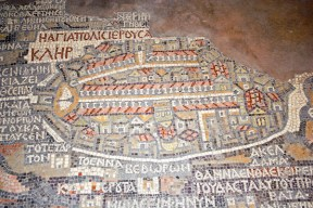 Jerusalem detail in the Madaba Map, St. George Basilica, Madaba, Jordan