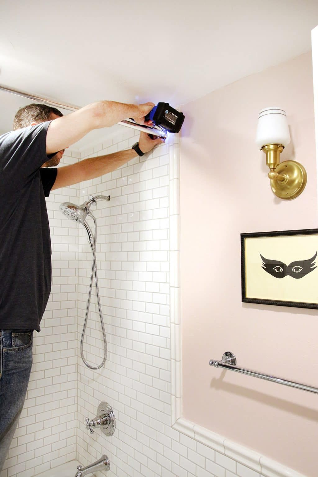 How to drill into tile to hang a shower curtain bathroom