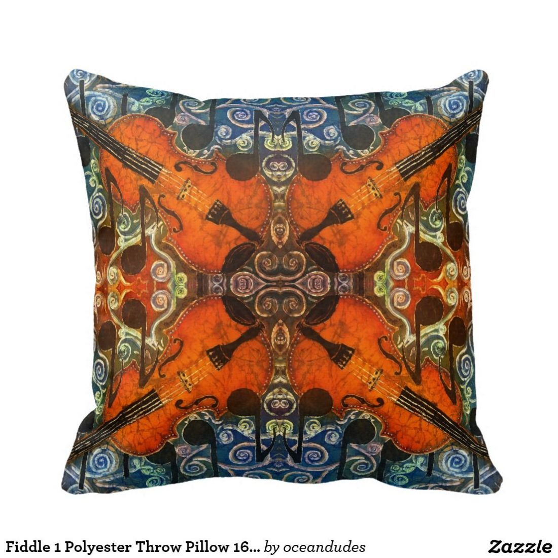 Fiddle 1 polyester throw pillow 16 x 16