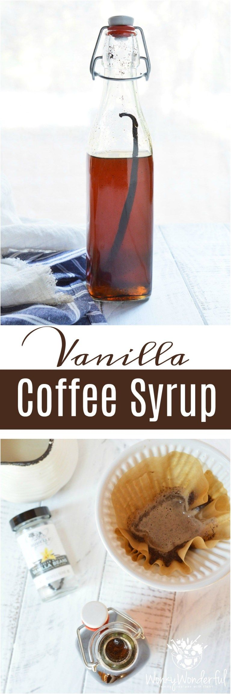 Homemade vanilla coffee syrup is easy to make and will
