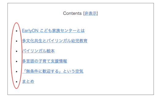 Table of contents plus【TOC+】の目次の余計な点