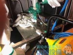 ビルインの飲食店 排水管の詰まり ワイヤーを通して高圧洗浄