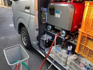 東大阪市七軒家で低騒音ハイパワーの高圧洗浄機での洗管作業は山川設備にお任せ下さい。