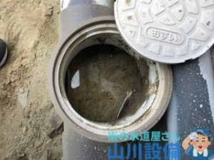 汚水管に水が溜まってたらそれは排水管の詰まりです。