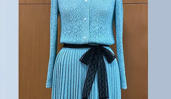 アクアマリンカラーのワンピース風ドレス