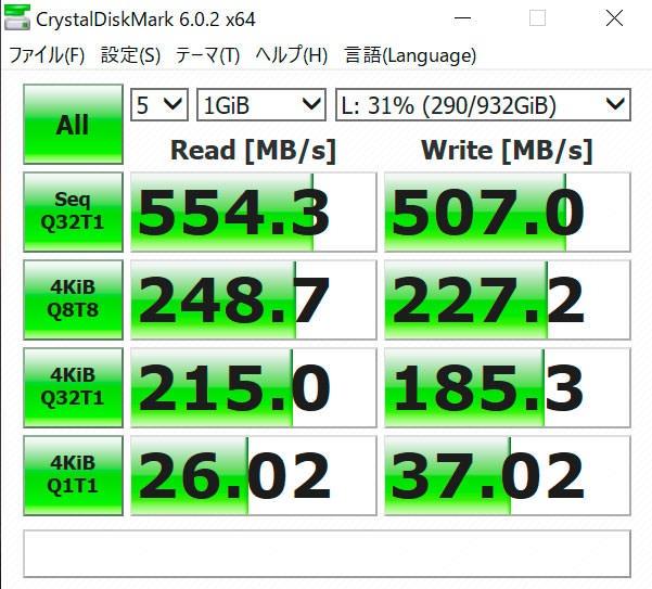 USB-C gen2での速度