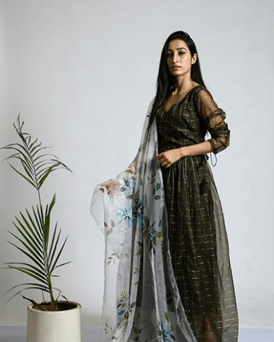 Military Green Gown with Dupatta