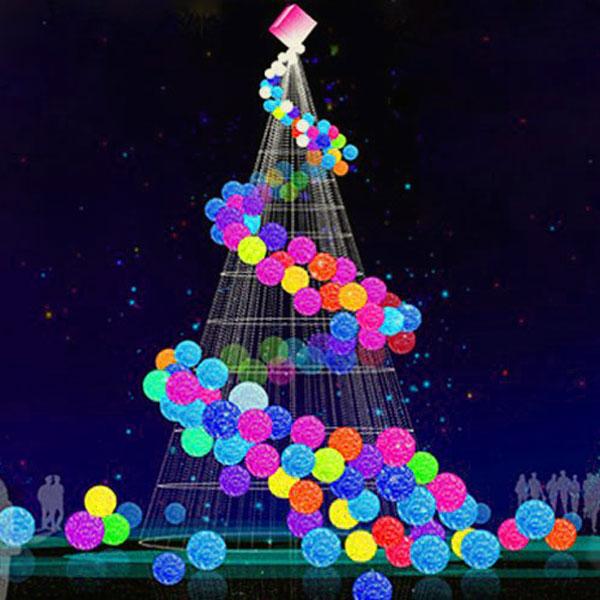 Christmas Light Balls.Colorful Modern Christmas Trees With Light Balls Yandecor