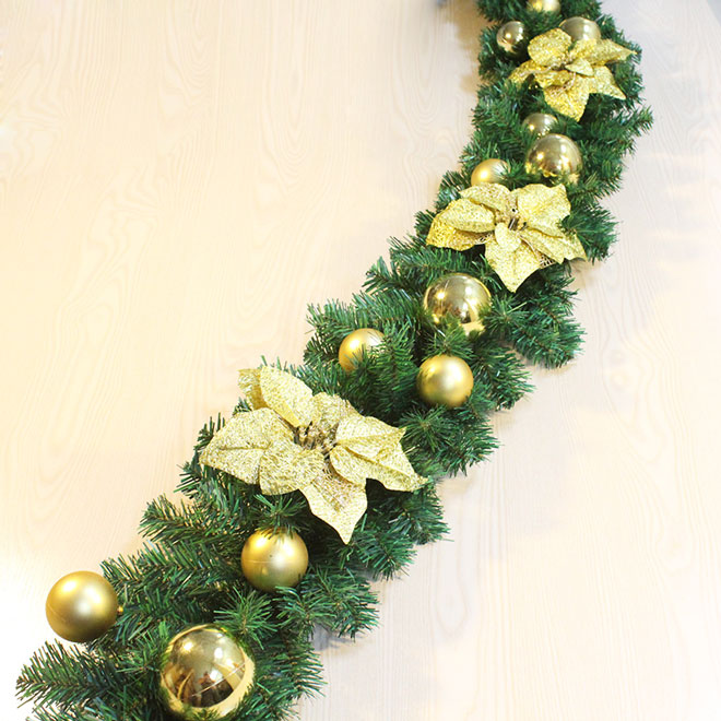 Christmas Garland For Stairs With Golden Flowers Yandecor