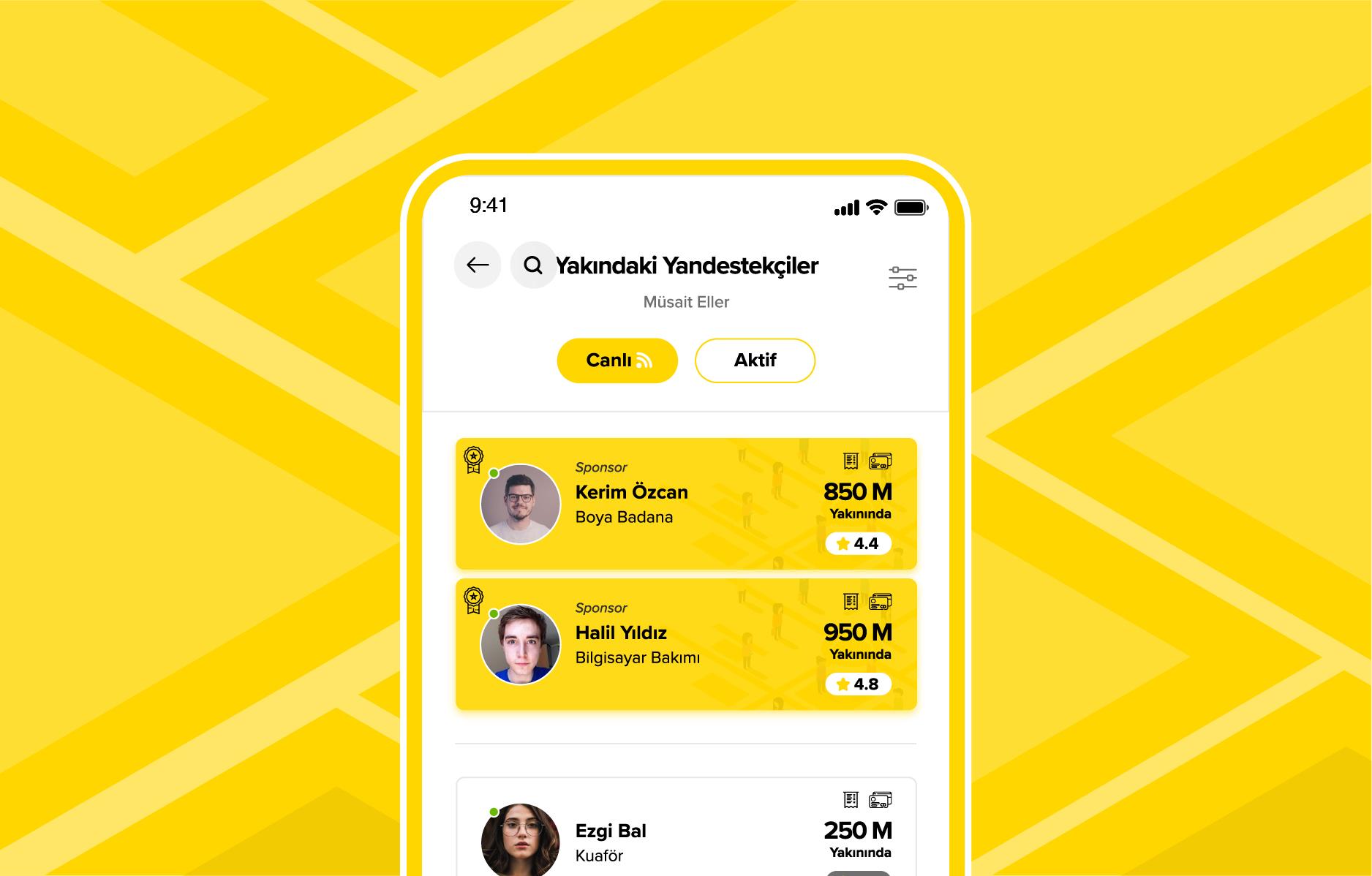 Yandestek App yakındaki yandestekçiler ekran görüntüsü