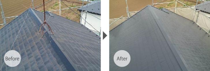 三郷市の屋根塗装のビフォーアフター