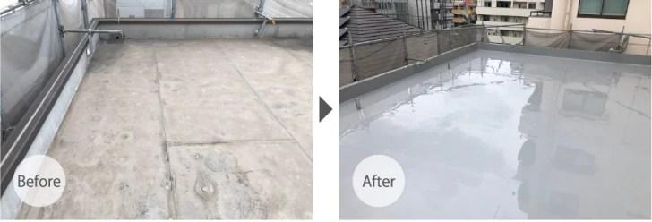 千葉市の屋上防水工事のビフォーアフター