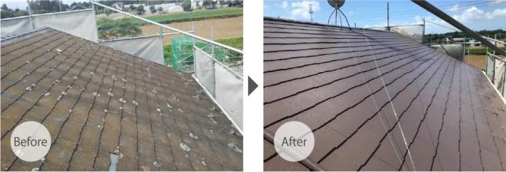 八街市の屋根塗装のビフォーアフター