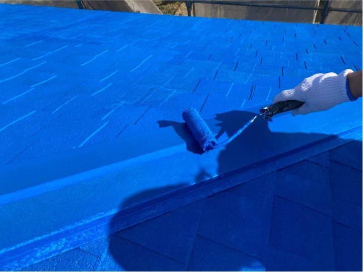 九十九里町の屋根塗装の上塗り