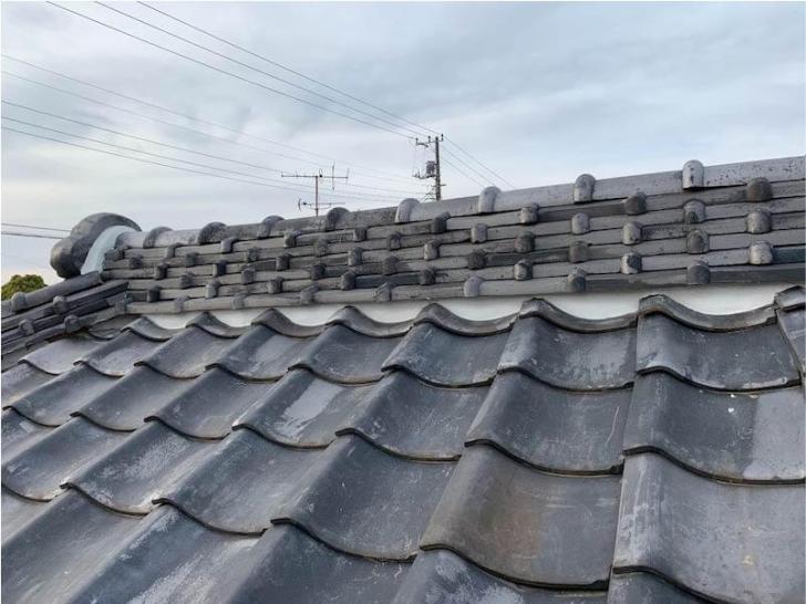 市川市の屋根修理の漆喰の補修工事の施工後の様子