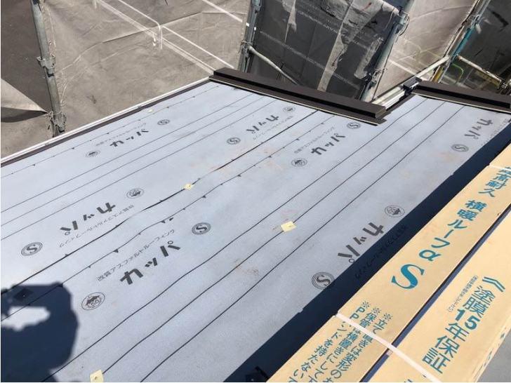 練馬区の屋根リフォームのルーフィングシートの設置