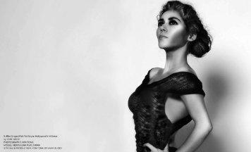 YANE MODE.Glamour. Hollywood ruffles Draped Fish Tail Rayon Hollywood Knit Dress