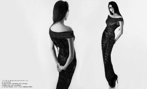 YANE MODE.Glamour. Tiffany Ruffles Metallic Weaved Rayon Knit Dress