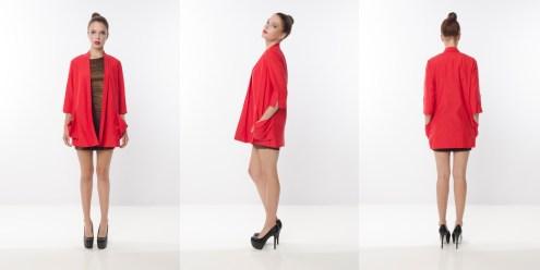 Look 11 - Oversized Pockets Red Cotton Silk Tuxedo Drapey Jacket
