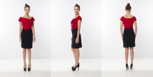 Look 19 - Tied Front Drop Shoulder Red Rayon Knit Top . High Waisted Pockets Pencil Skirt