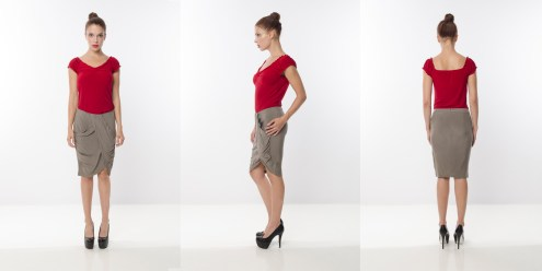 Look 20 - Ruching Shoulder Knot Front Red Rayon Knit Top