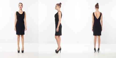 Look 4 - Draped Front Deep V Back Black Rayon Knit Work Dress
