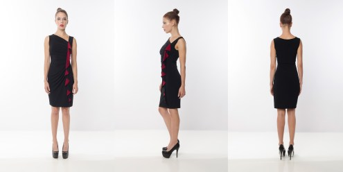 Look 5 - Asymmetrical Ruffles Contract Detail Wrap Black Rayon Knit Work Dress