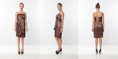 Look 8 – Asymmetrical Pleated Front Metallic Bronze Nylon Taffeta Evening Dress
