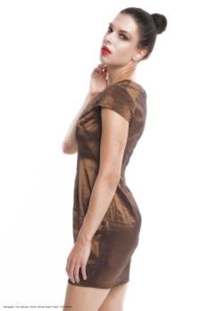 yane mode . lookbook . artisan . Look 10 - Overlapping Wide Neck Lightweight High Shine Metallic Bronze Woven Shift Dress