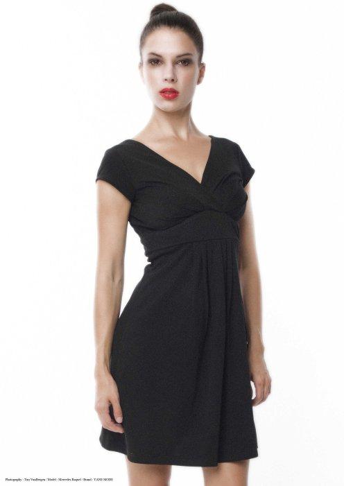 yane mode . lookbook . artisan . Look 12 - V neck Flare Front A Line Rayon Woven Little Black Dress