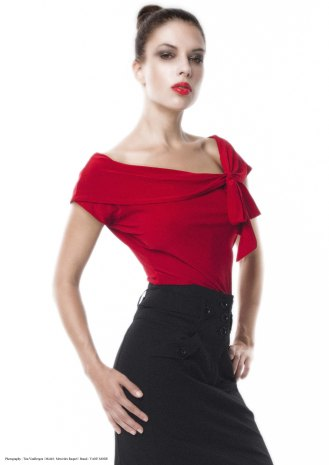 yane mode . lookbook . artisan . Look 19 - Tied Front Drop Shoulder Red Rayon Knit Top . High Waisted Pockets Pencil Skirt