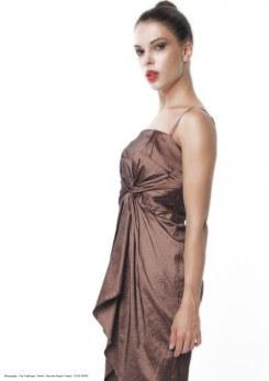 yane mode . lookbook . artisan . Look 8 – Asymmetrical Pleated Front Metallic Bronze Nylon Taffeta Evening Dress