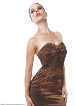 yane mode . lookbook . artisan . Look 9 – Pleated Front Lightweight High Shine Metallic Bronze Woven Mini Dress