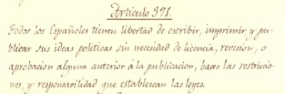 La Pepa, la primera Constitución que recoge la libertad de prensa en España