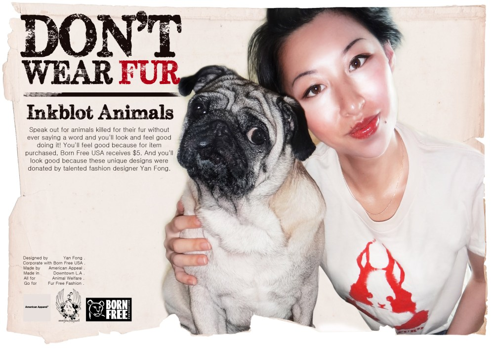 dont wear fur inkblot animals YAN FONG Born Free USA American Appeal poster